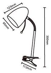 Lampka stołowa biurkowa z klipsem, gwint E27, 35cm, gęsia szyja, biała