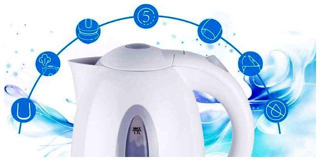Czajnik elektryczny bezprzewodowy Aigostar, 2200W, 1700ml, plastikowy, biały (typ 1)