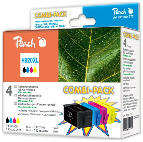 Peach Combi Pack z chipem, kompatybilny z No. 920XL